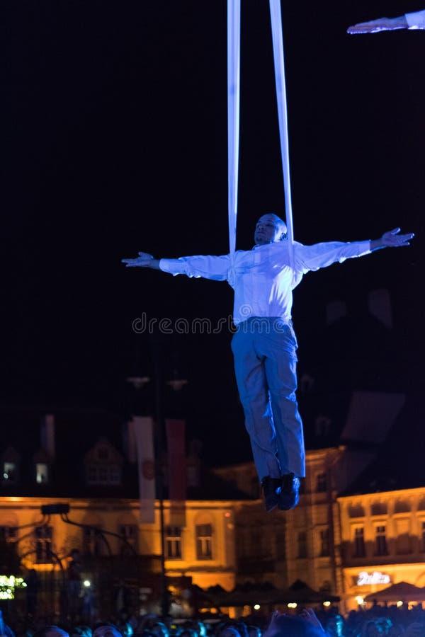 SIBIU, ROMANIA - 17 JUNE 2016: A member of the VOALA Station performing in the Big Square during Sibiu International Theatre Festi. Val, Sibiu, Romania stock images