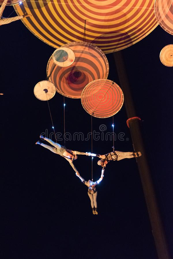 SIBIU, ROMANIA - 19 JUNE 2016: Members of the Muare Experience Duchamp Pilot performing in the Big Square, during Sibiu Internatio. Nal Theatre Festival in Sibiu stock photography