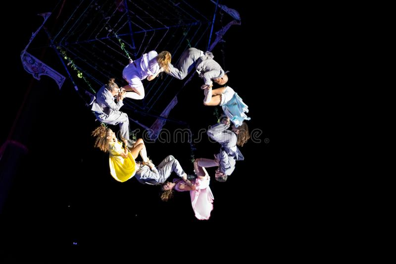 SIBIU, ROMANIA - 17 JUNE 2016: Members of the VOALA Station performing in the Big Square, during Sibiu International Theatre Festi. Val Festival, in Sibiu royalty free stock photos