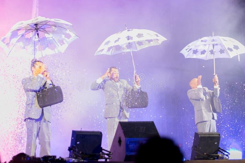 SIBIU, ROMANIA - 17 JUNE 2016: Members of the VOALA Station performing in the Big Square, during Sibiu International Theatre Festi. Val, Sibiu, Romania royalty free stock photography