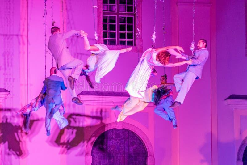 SIBIU, ROMANIA - 17 JUNE 2016: Members of the VOALA Station performing in the Big Square, during Sibiu International Theatre Festi. Val, Sibiu, Romania royalty free stock photo