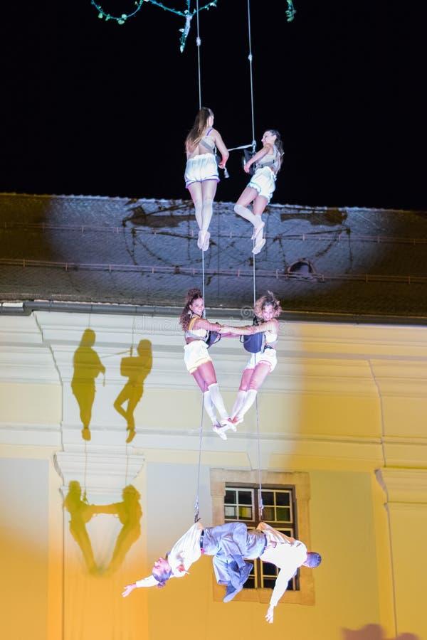SIBIU, ROMANIA - 17 JUNE 2016: Members of the VOALA Station performing in the Big Square, during Sibiu International Theatre Festi. Val, Sibiu, Romania stock photo