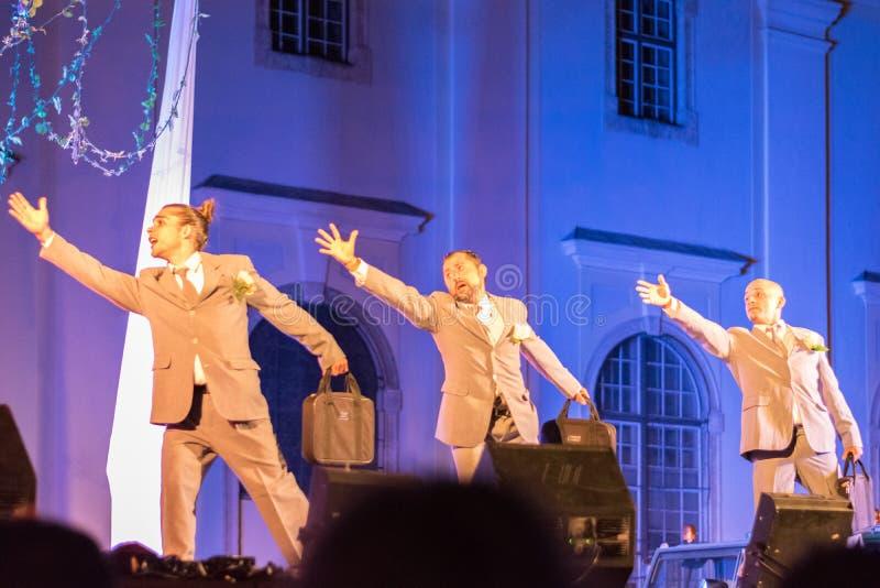 SIBIU, ROMANIA - 17 JUNE 2016: Members of the VOALA Station performing in the Big Square, during Sibiu International Theatre Festi. Val, Sibiu, Romania stock photography