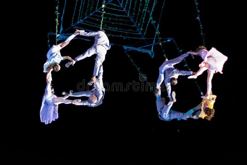 SIBIU, ROMANIA - 17 JUNE 2016: Members of the VOALA Station performing in the Big Square, during Sibiu International Theatre Festi. Val Festival, in Sibiu stock photo