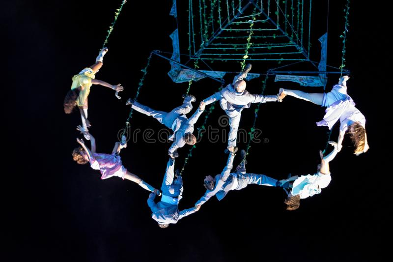 SIBIU, ROMANIA - 17 JUNE 2016: Members of the VOALA Station performing in the Big Square, during Sibiu International Theatre Festi. Val Festival, in Sibiu royalty free stock photo