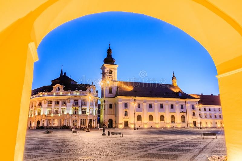Sibiu, Romania. Large Square and City Hall. Transylvania medieval city stock image
