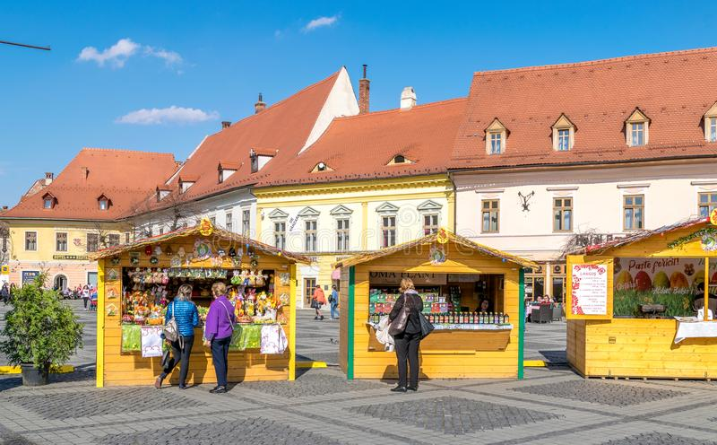SIBIU, ROMANIA - 30 MARCH 2018: The opening of the Sibiu Easter Fair in Transylvania region, Romania royalty free stock photos