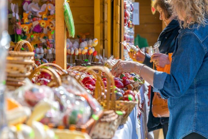 SIBIU, ROMANIA - 30 MARCH 2018: The opening of the Sibiu Easter Fair in Transylvania region, Romania stock images