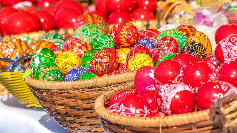 SIBIU, ROMANIA - 30 MARCH 2018: Traditional Easter eggs at the opening of the Sibiu Easter Fair in Transylvania region royalty free stock photos