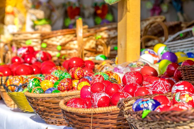 SIBIU, ROMANIA - 30 MARCH 2018: Traditional Easter eggs at the opening of the Sibiu Easter Fair in Transylvania region royalty free stock photo