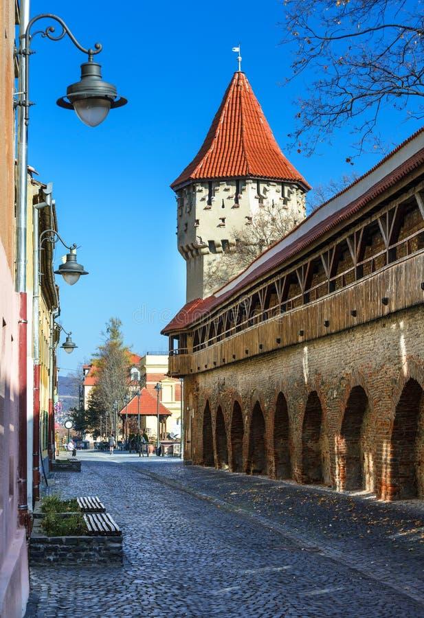 Sibiu, Romania. Medieval tower of stone-walled fortification of ancient city of Transylvania, romanian landmark royalty free stock photo