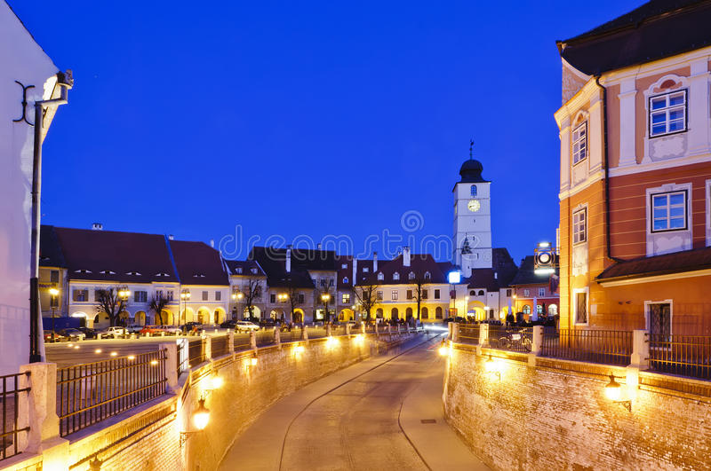 Sibiu in Romania, at night royalty free stock photography