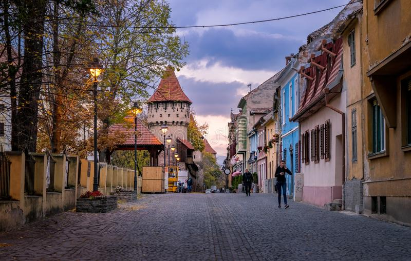 SIBIU, ROMANIA - 23 OCTOBER, 2017: View to the Cetatii Street in Sibiu, Romania royalty free stock photos