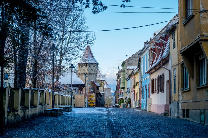SIBIU, ROMANIA - 31 OCTOBER, 2017: View to the Cetatii Street in Sibiu, Romania royalty free stock photo