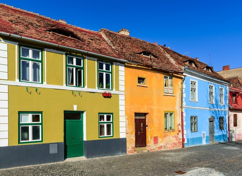 Sibiu, Romania. Scenery of Sibiu, Transylvania, with old colorfull medieval house facades. Landmarkf of Romania stock image