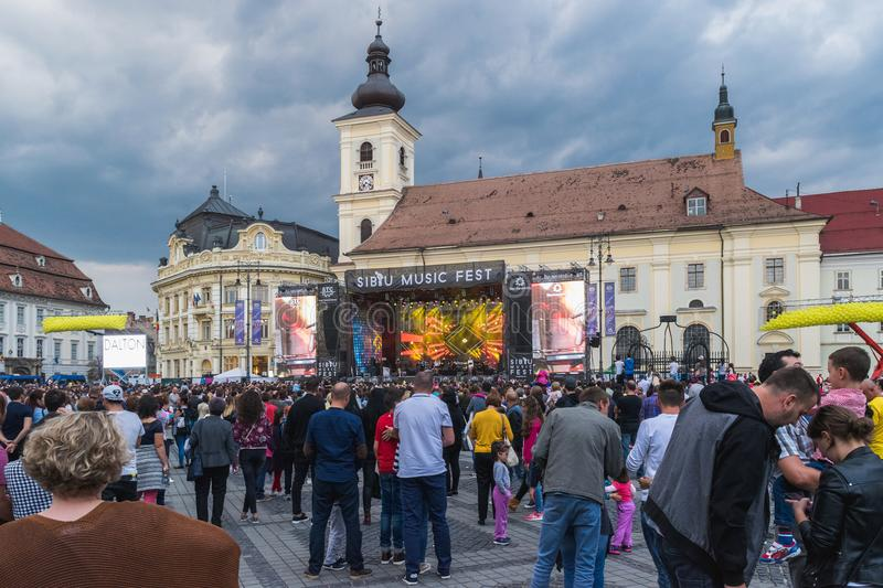 SIBIU, ROMANIA - 9 SEPTEMBER, 2017: A view of thr Big Square during a concert in Sibiu, Romania stock image