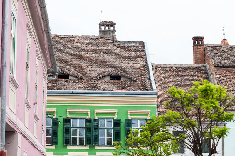 SIBIU, ROMANIA. Street views, people and architectural details stock image