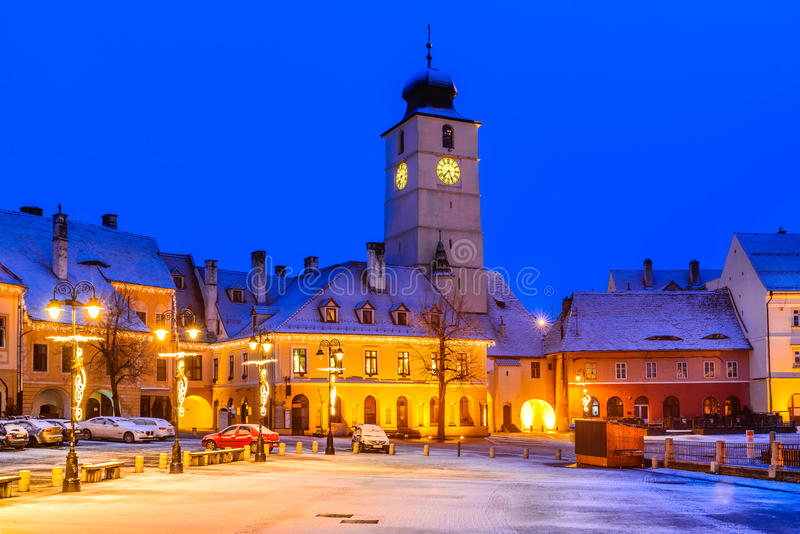 Sibiu, Romania. Twilight image of Council Tower in Small Square, downtown of Sibiu, Transylvania royalty free stock photography