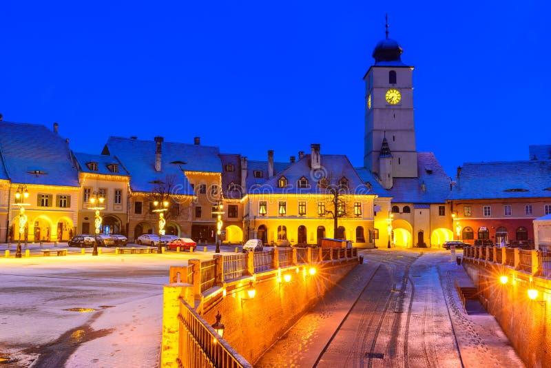 Sibiu, Romania. Twilight image of Council Tower in Small Square, downtown of Sibiu, Transylvania royalty free stock image