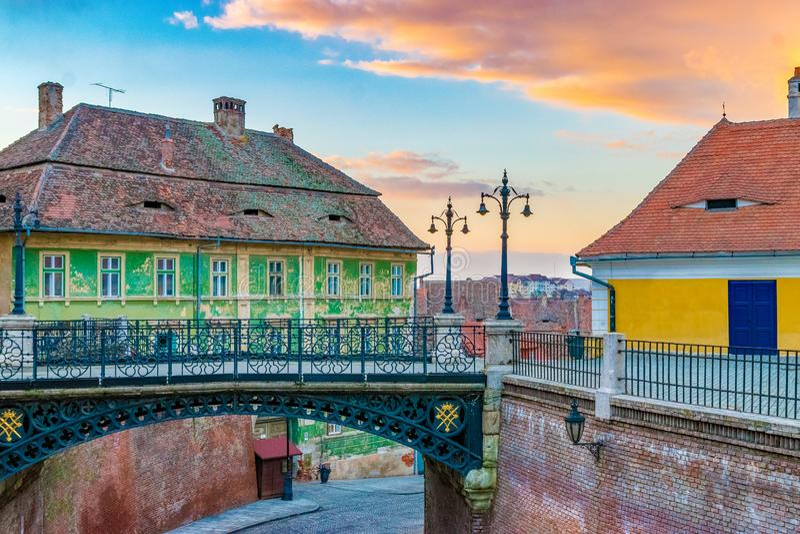 Sibiu, Romania: View to the Bridge of Lies, in Sibiu, Romania. The Bridge of Lies is one of the most important symbols of the city stock photos