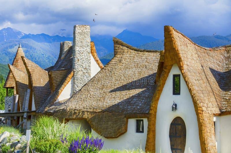 Sibiu Rumänien sagaslott Castelul de Lut, Valea Zanelor arkivfoto