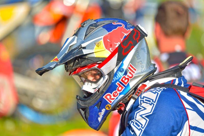 SIBIU RUMUNIA, LIPIEC, - 18: Grahamowy Jarvis konkurowanie w Red Bull ROMANIACS Enduro Ciężkim wiecu fotografia stock