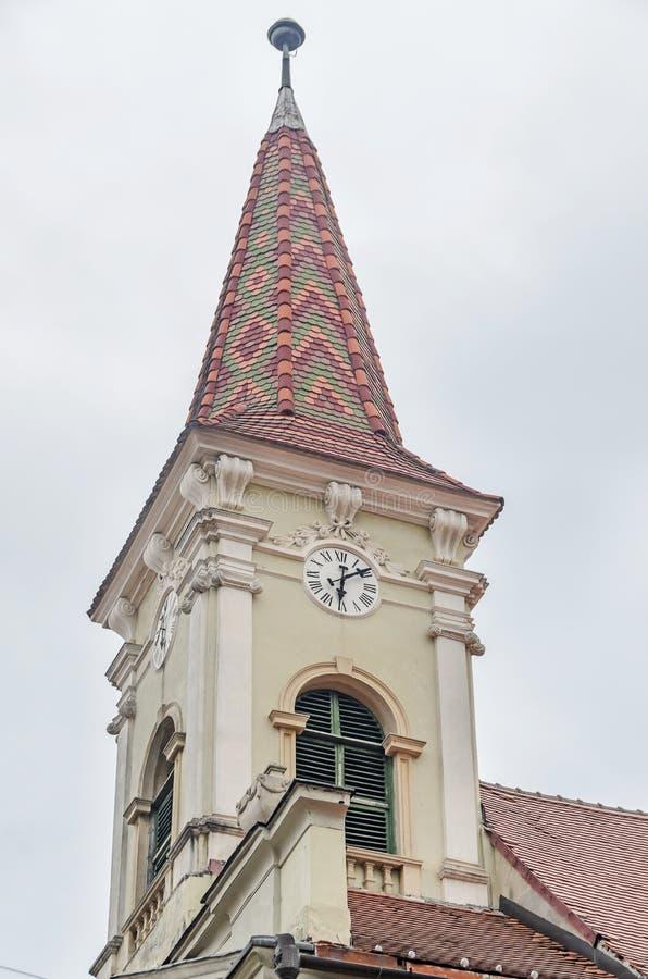 Sibiu, Rumunia: Reformowany kościół, szczegół wierza zdjęcia stock