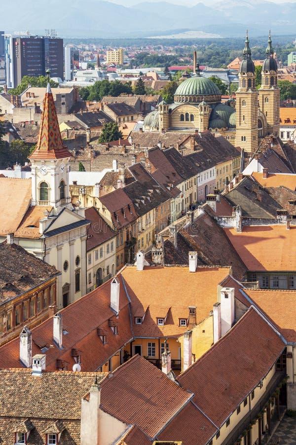 Sibiu, Rumunia, Transylvania wynosił pejzaż miejskiego zdjęcie stock