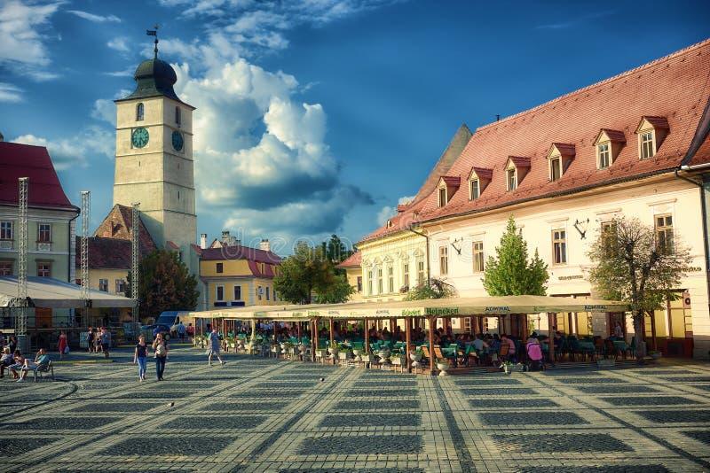 Sibiu`s Council Tower Against Dramatic Sky, Romania stock photos