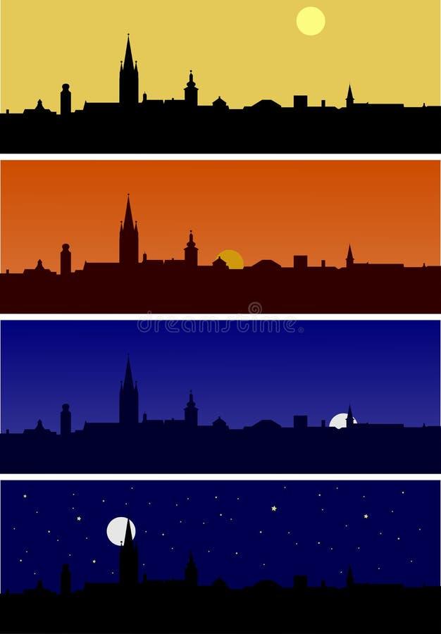 Sibiu-Skyline an den verschiedenen daytimes lizenzfreie abbildung