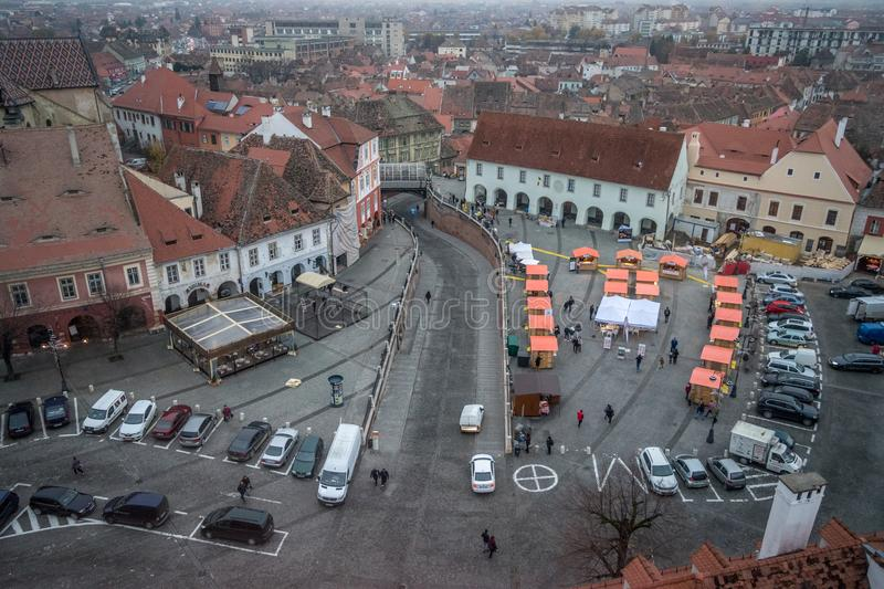 2017 Sibiu small square with christmas street food market on the royalty free stock photos