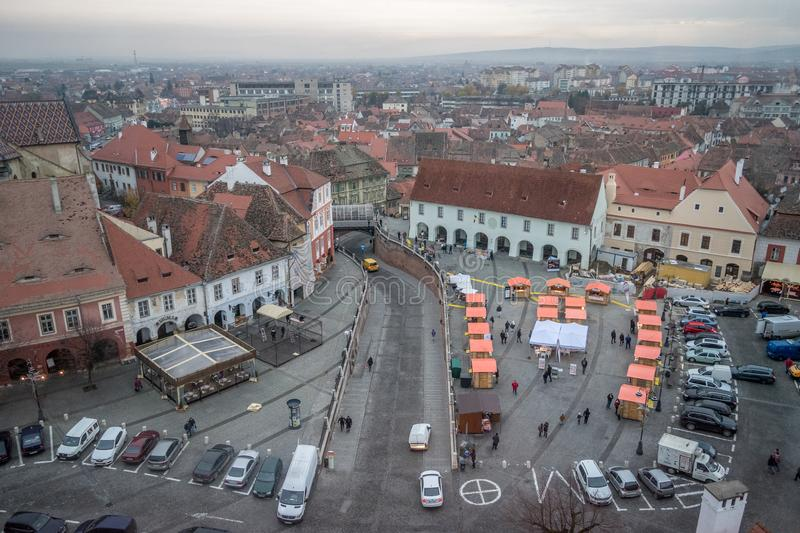 2017 Sibiu small square with christmas street food market on the stock image