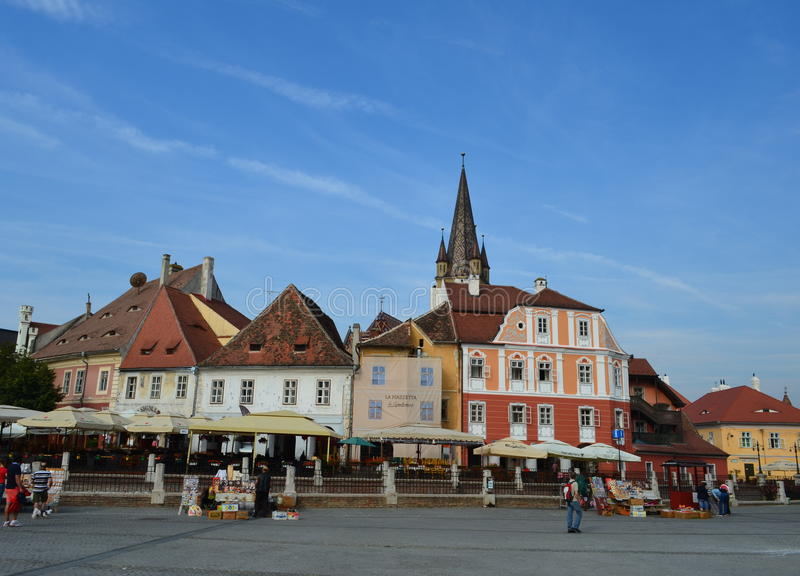Sibiu Small Square in Romania royalty free stock photography