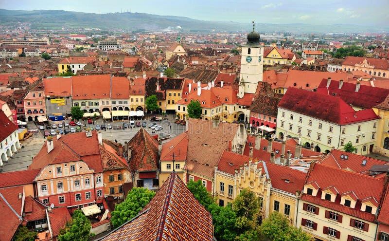 Sibiu-Stadtzentrum, die Draufsicht, Rumänien stockbilder