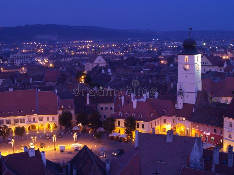 Sibiu at sunset royalty free stock photos