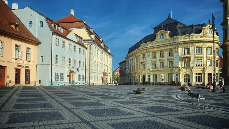 Sibiu urząd miasta w Piata klaczu, Rumunia fotografia stock