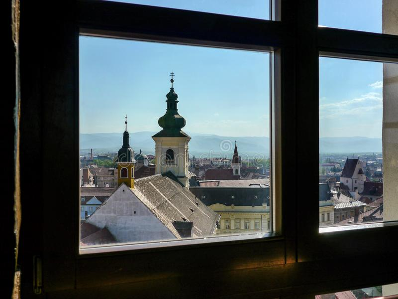 Sibiu viewed from a window of the Council Tower of Sibiu, Transylvania, Romania royalty free stock photography