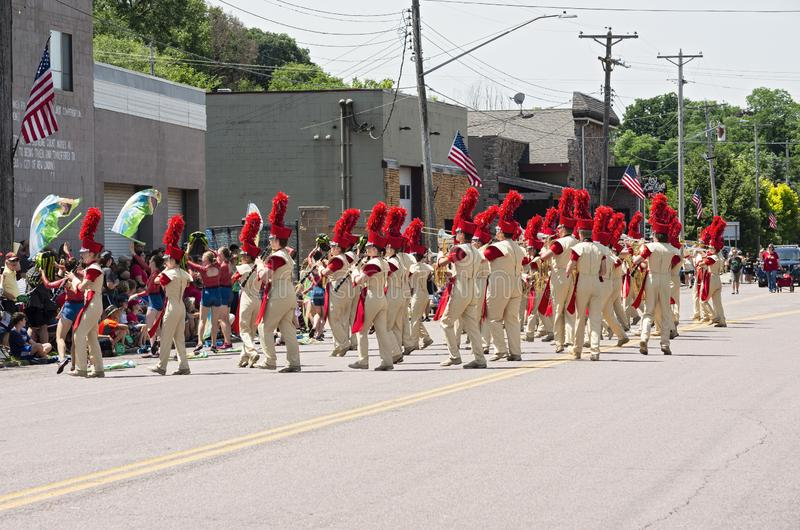 Sibley Band Entertains Crowd at Mendota Parade. Mendota, Minnesota/USA - July 13, 2019: The Sibley High School Marching Band entertains the crowd at annual royalty free stock photos