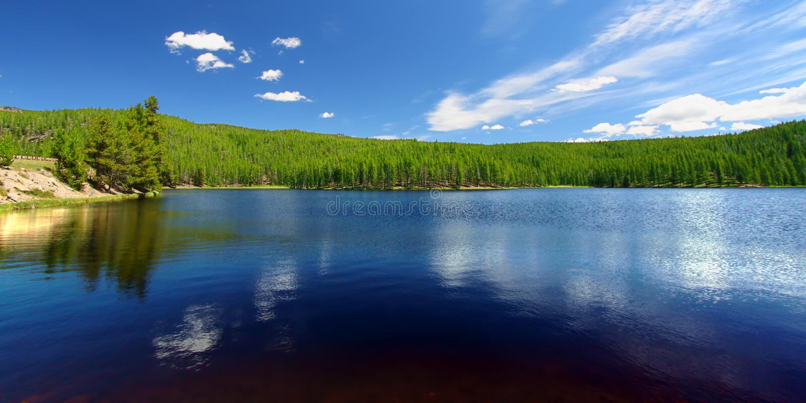 Sibley Lake Bighorn National Forest. Panoramic view of Sibley Lake in the Bighorn National Forest of Wyoming stock photography