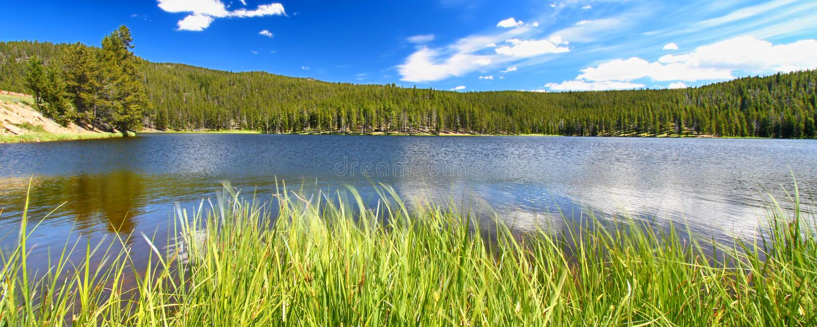 Sibley Lake Bighorn National Forest. Panoramic view of Sibley Lake in the Bighorn National Forest of Wyoming stock photos