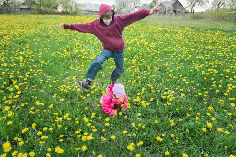 Sibling broer speelleapfrog spel met haar weinig zuster op de weide van de lentepaardebloemen royalty-vrije stock fotografie