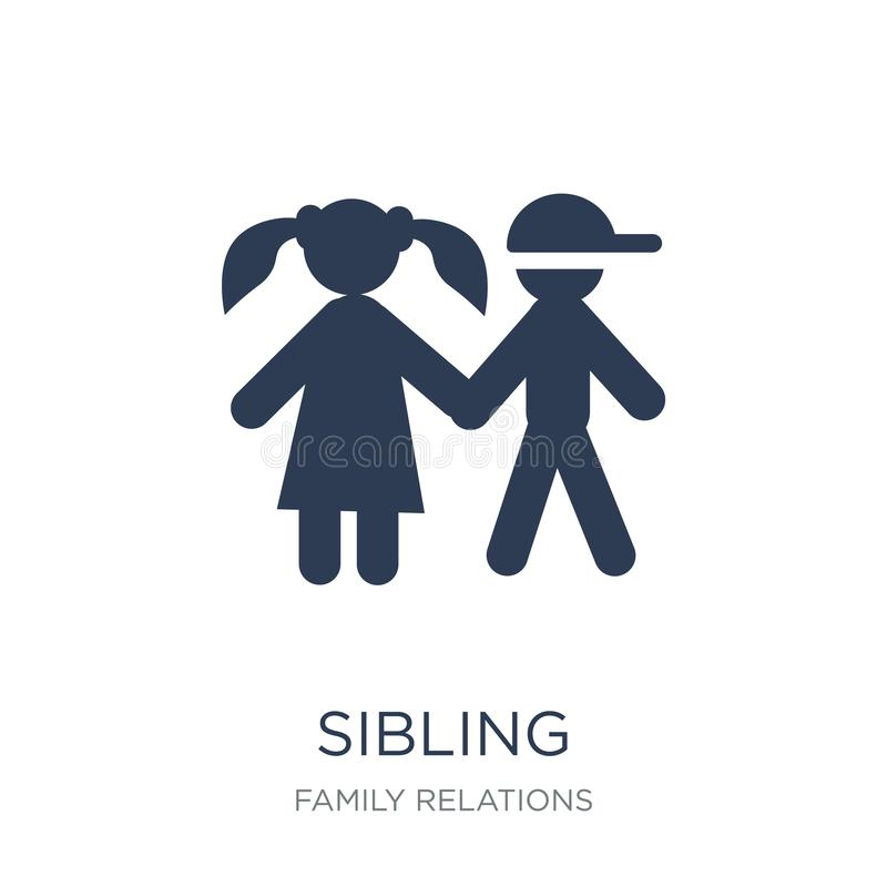sibling icon. Trendy flat vector sibling icon on white background from family relations collection stock illustration