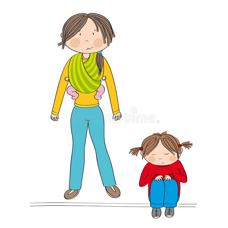 Sibling rivalry. Little girl sitting on the ground being sad. vector illustration