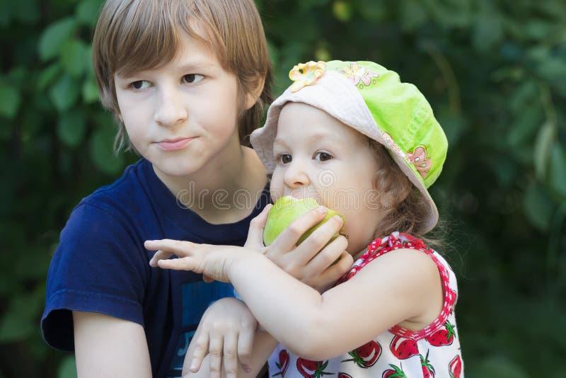Siblingbarn som delar grön utomhus- äpplefrukt royaltyfria foton