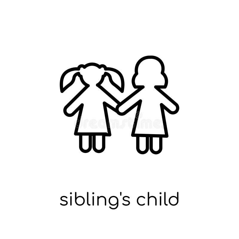 siblings barnsymbol Moderiktig modern plan linjär vektorsiblings stock illustrationer