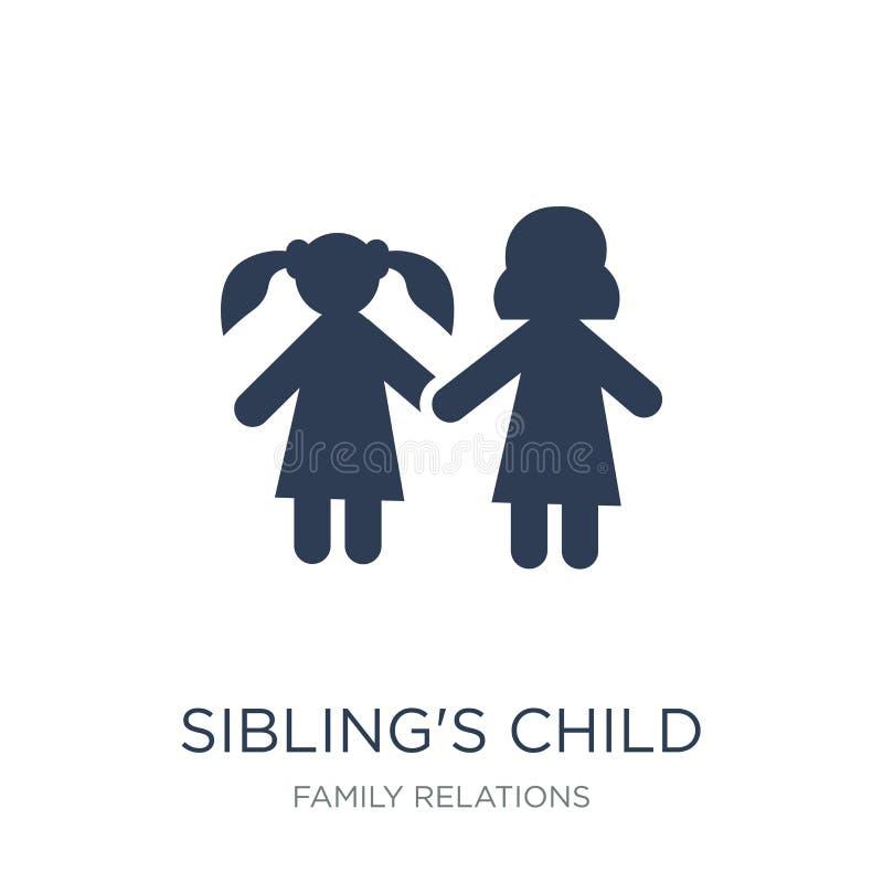 siblings barnsymbol Moderiktig plan vektorsiblings symbol för barn på stock illustrationer