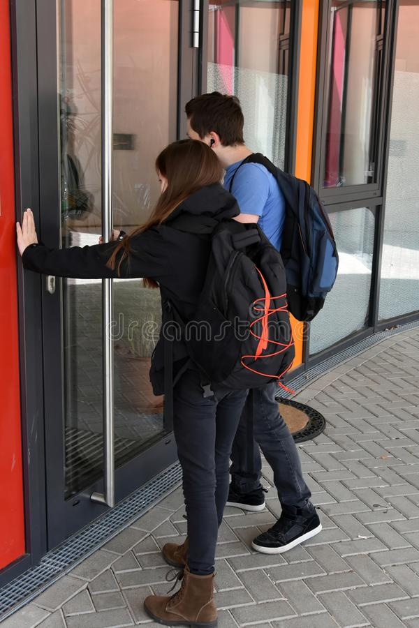 Too late, school door is closed royalty free stock photography
