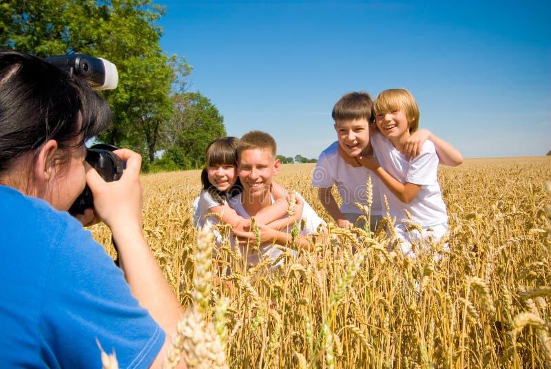 Siblings posing at camera stock photography