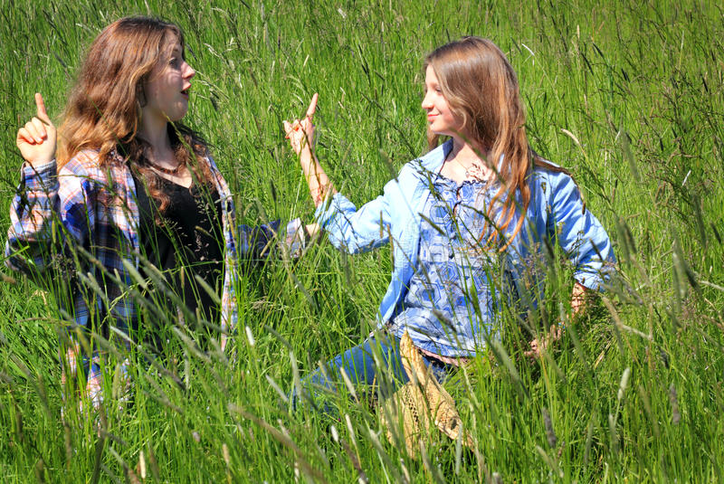 Siblings Serious Discussion stock photography
