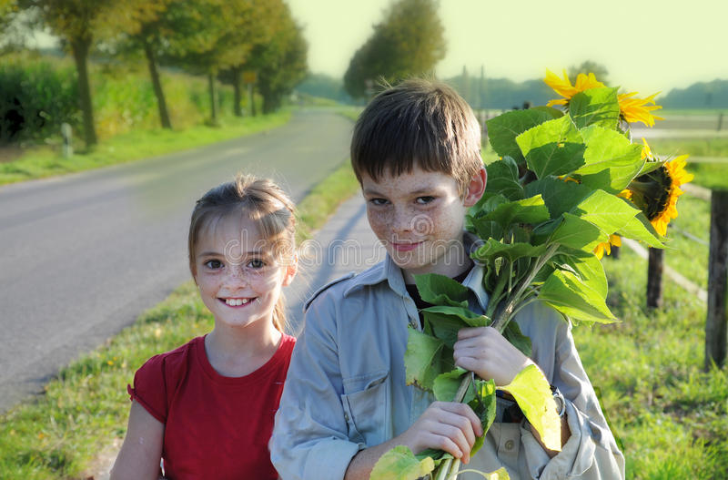 Siblings with sunflowers. Cute siblings, boy and girl, with sunflowers royalty free stock images